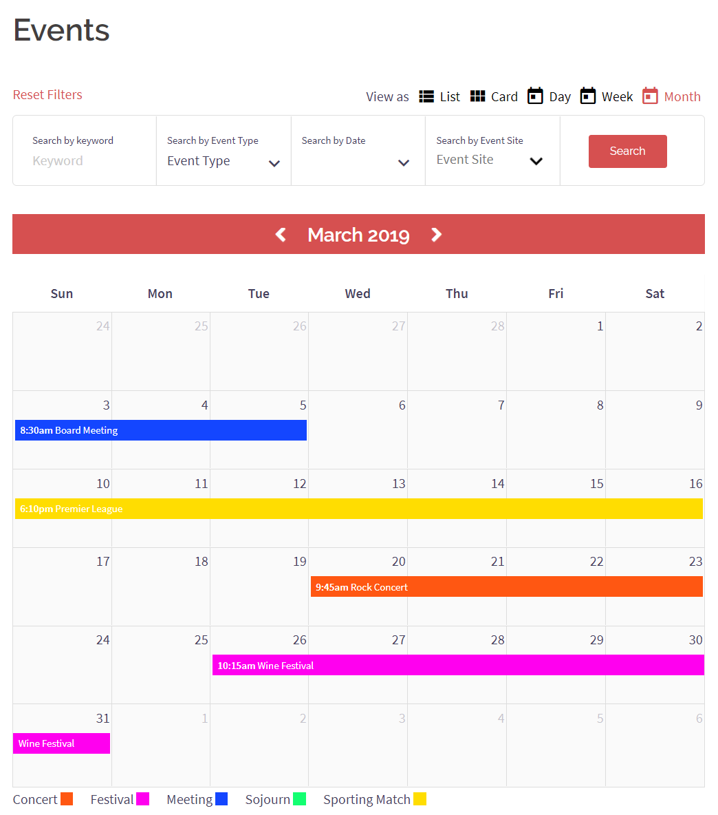 All Events Calendar View on Frontend