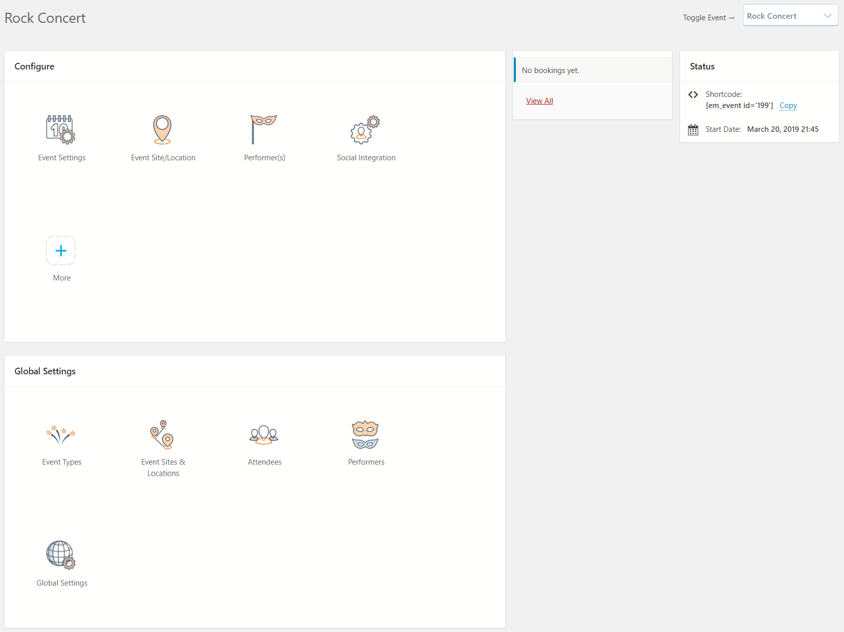Event Dashboard Configuration Options