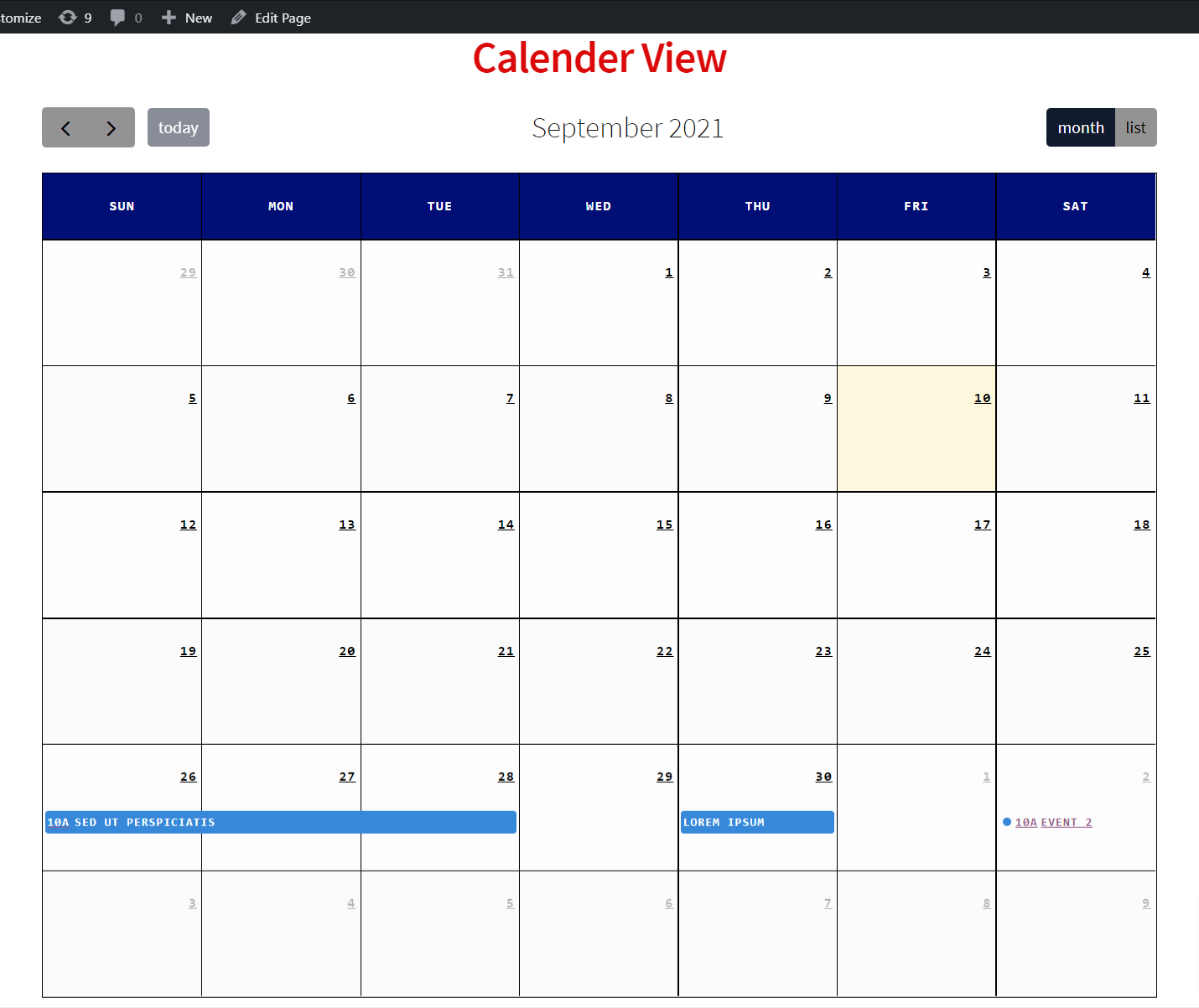 Calender View