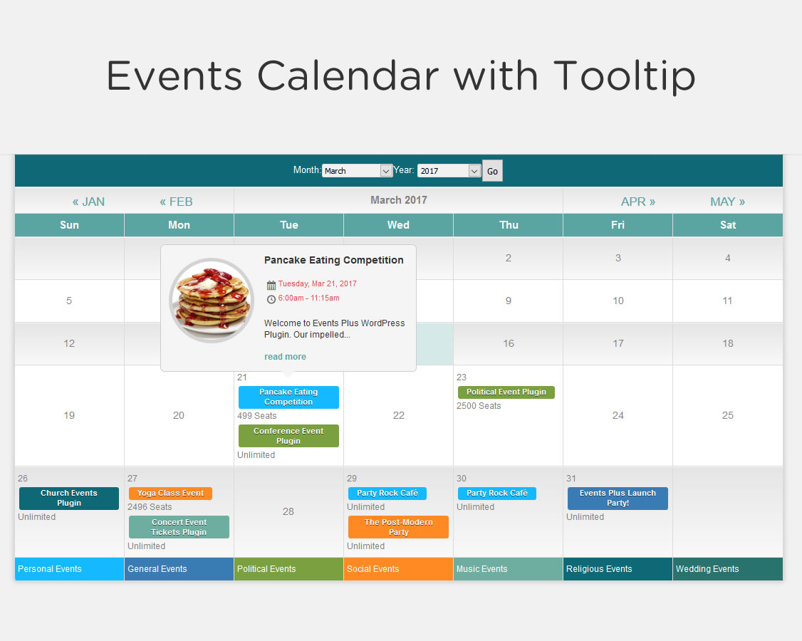 Calendar Design For Website : Events calendar registration wordpress
