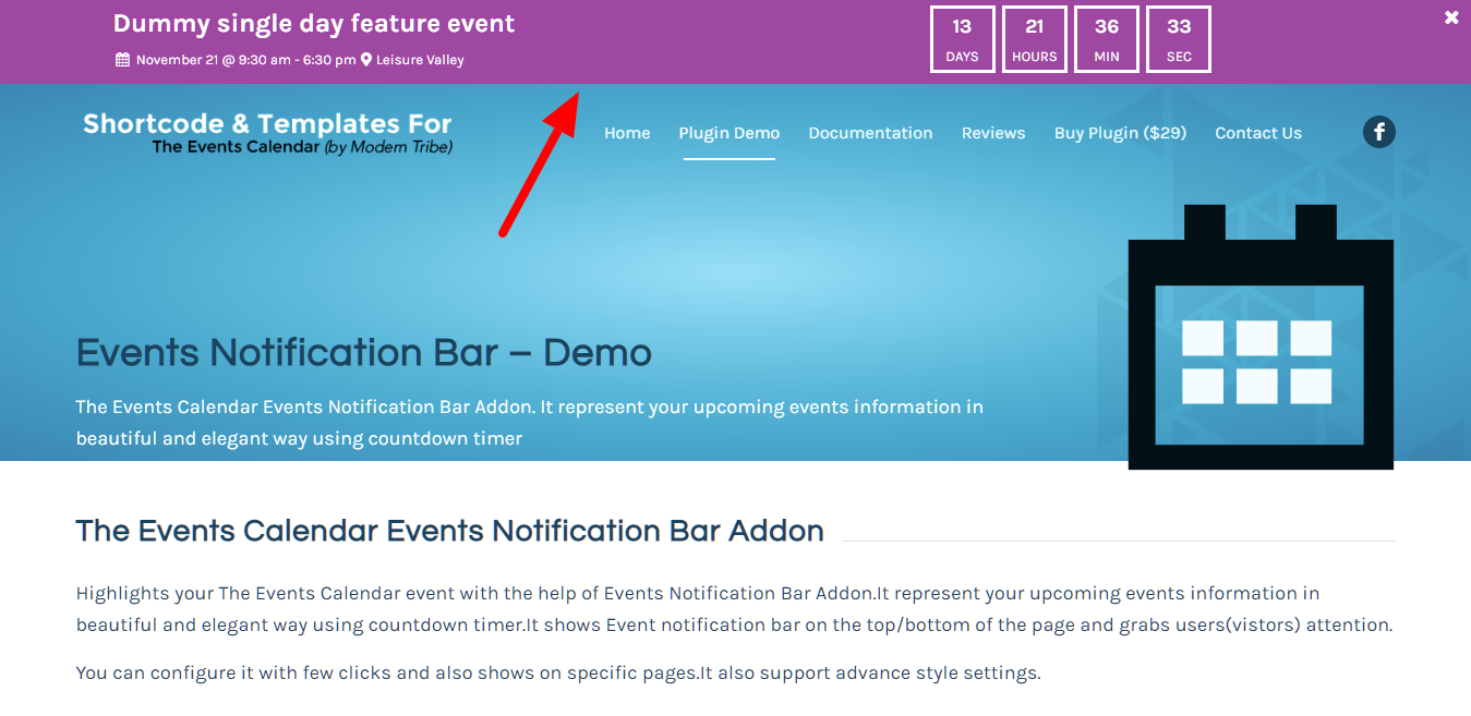 The Events Calendar Events Notification Bar Addon