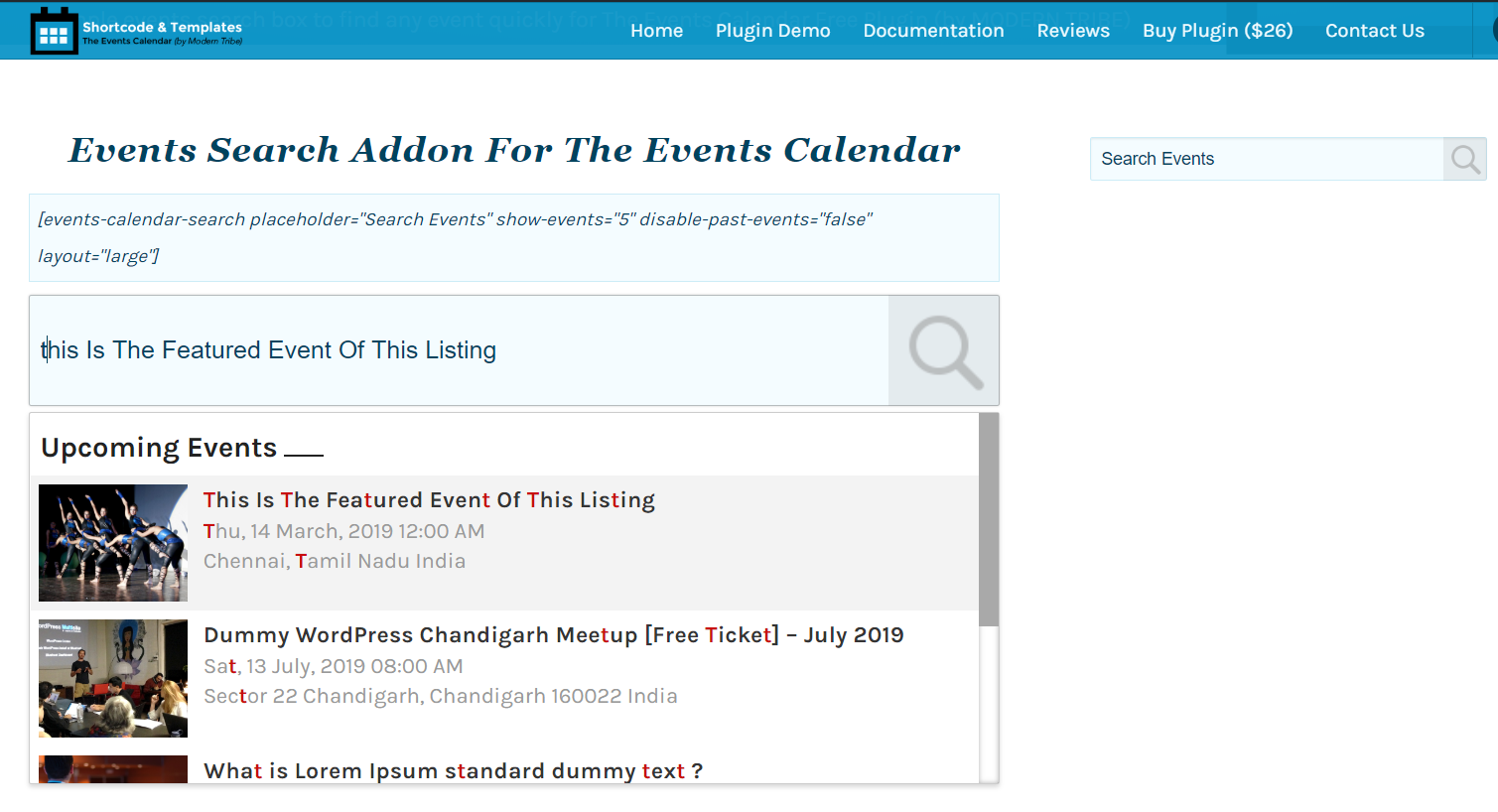 The Events Calendar Search Addon Shortcode and Sidebar Widget View.