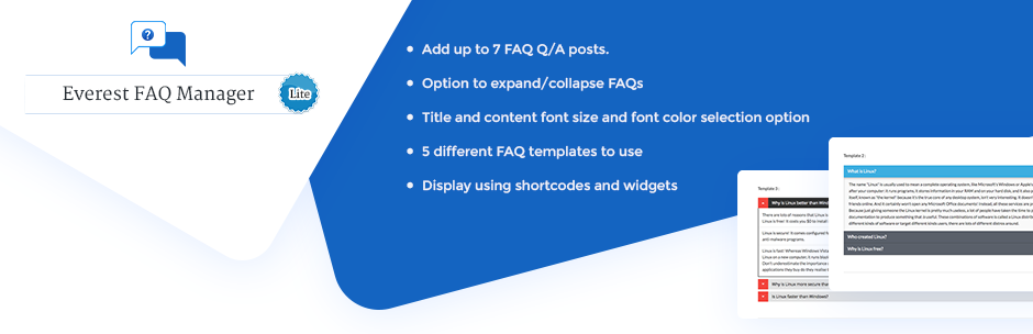 Beautiful FAQ Plugin for WordPress – Everest FAQ Manager Lite