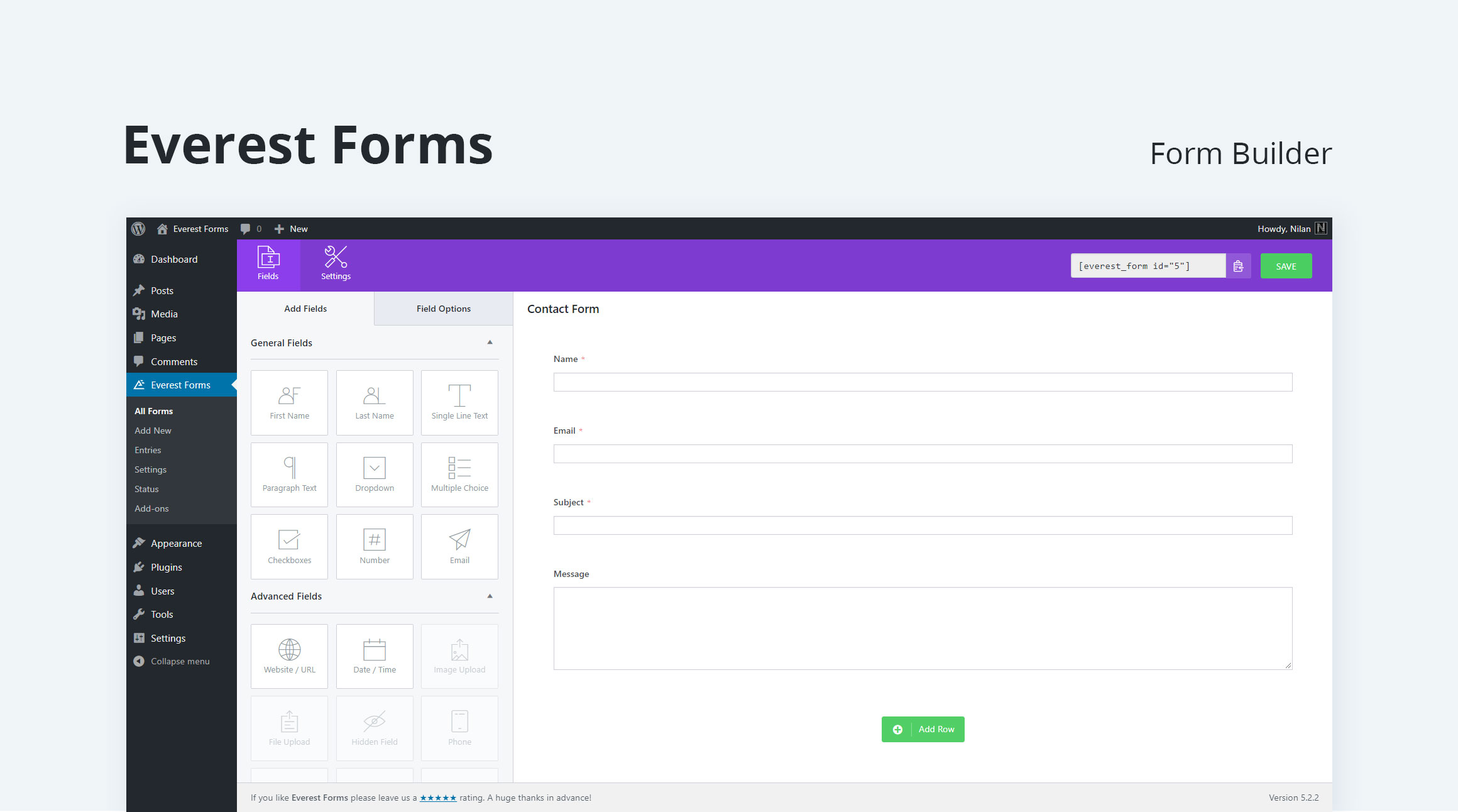 Contact Form, Drag and Drop Form Builder for WordPress – Everest