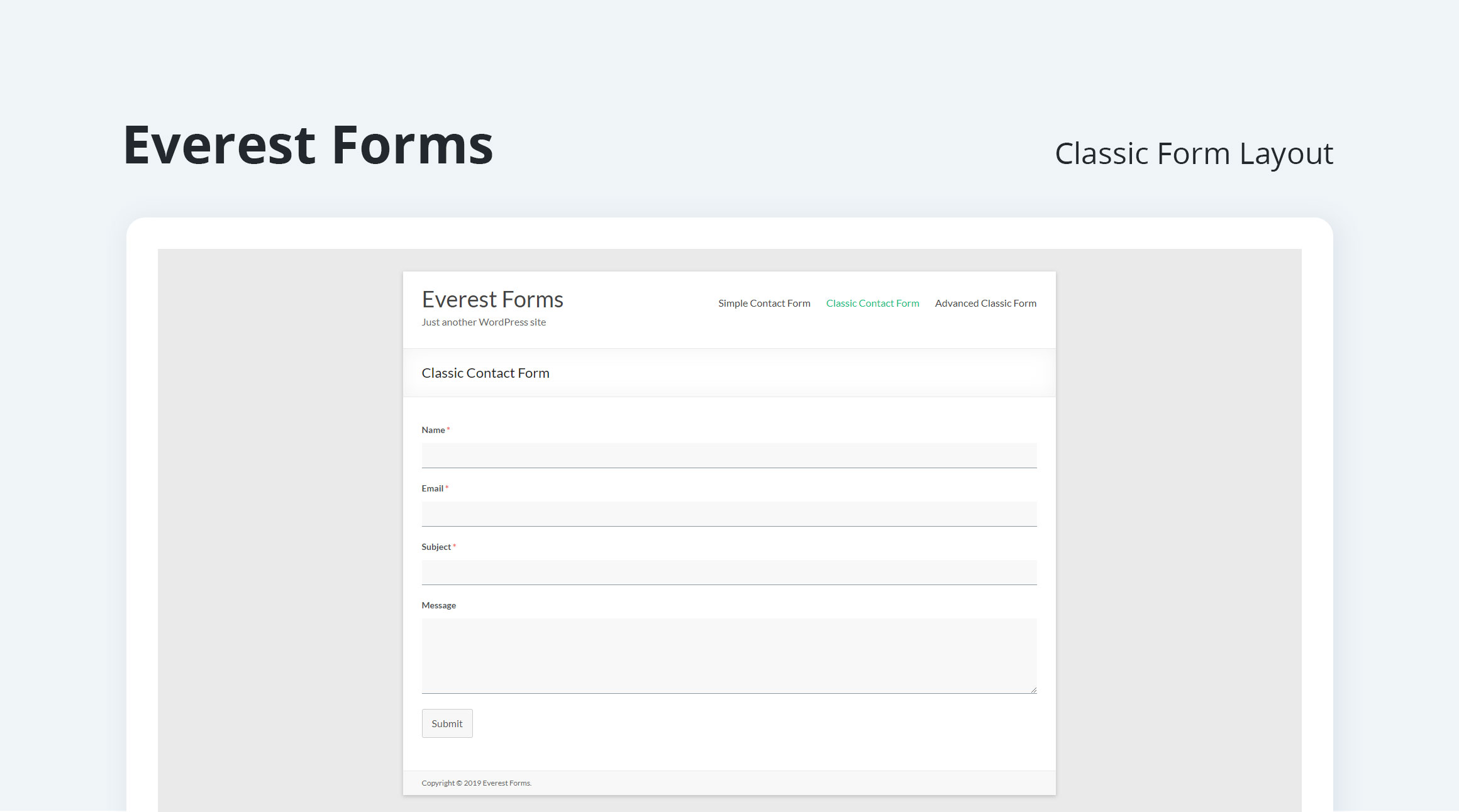 Contact Form - Classic Layout