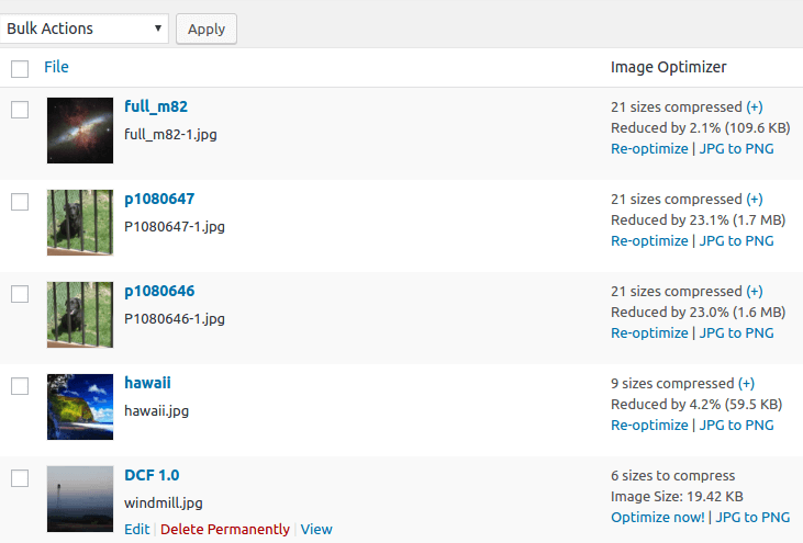 EWWW Image Optimizer Screenshot