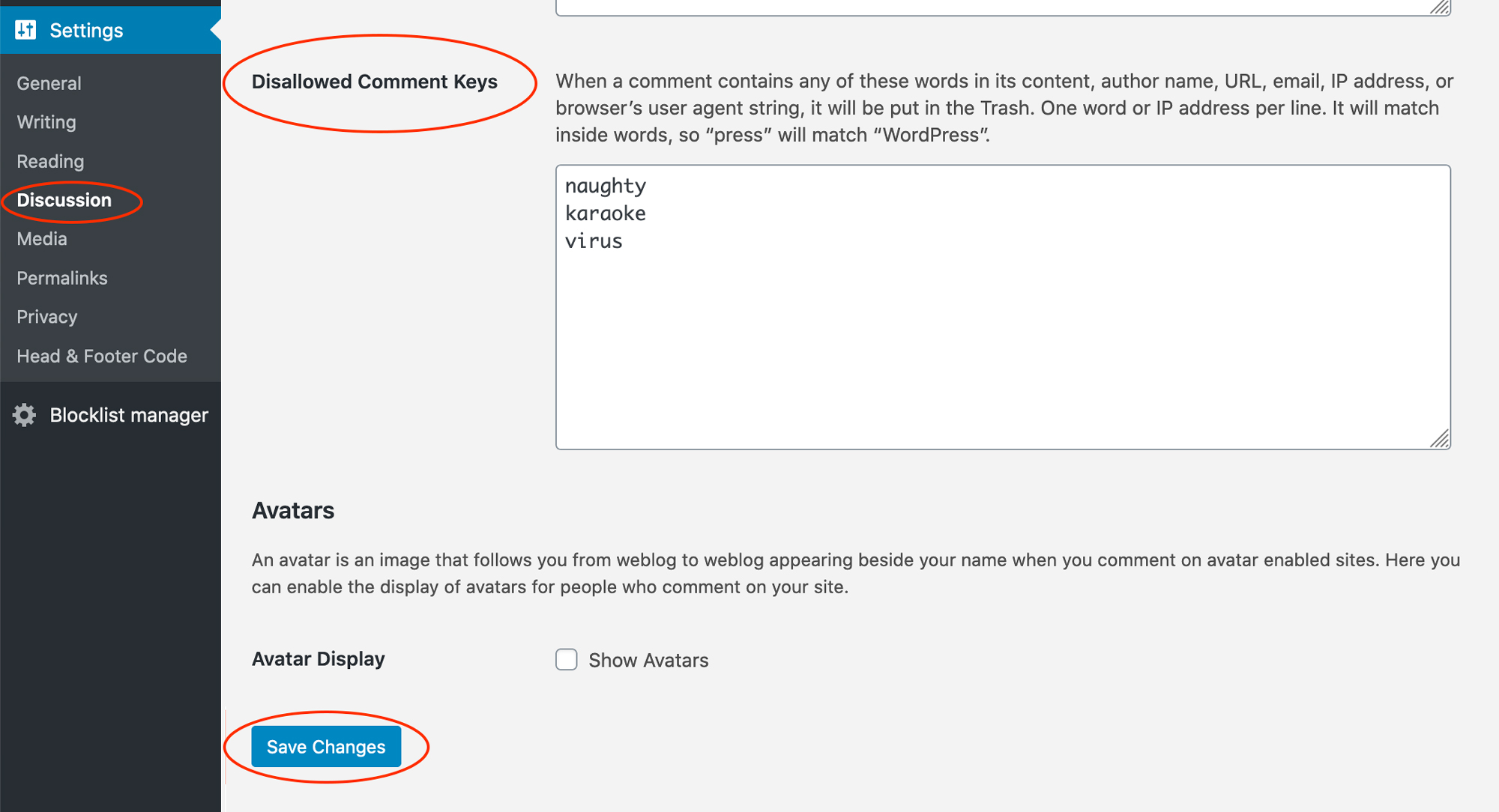Exact Match Disallowed Comment & Contact Forms