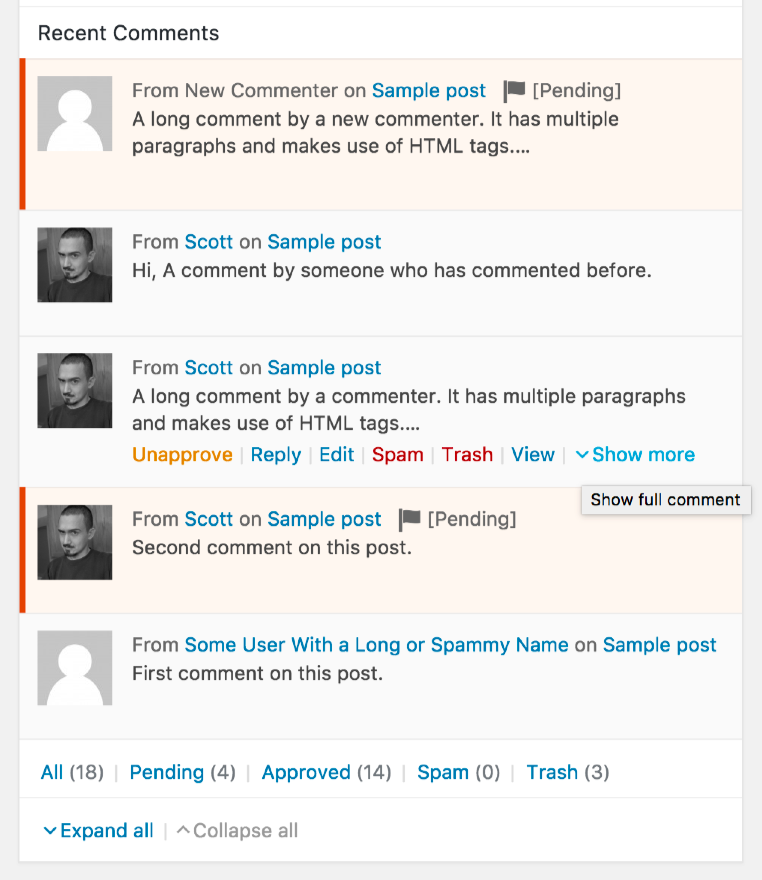 expandable-dashboard-recent-comments screenshot 1