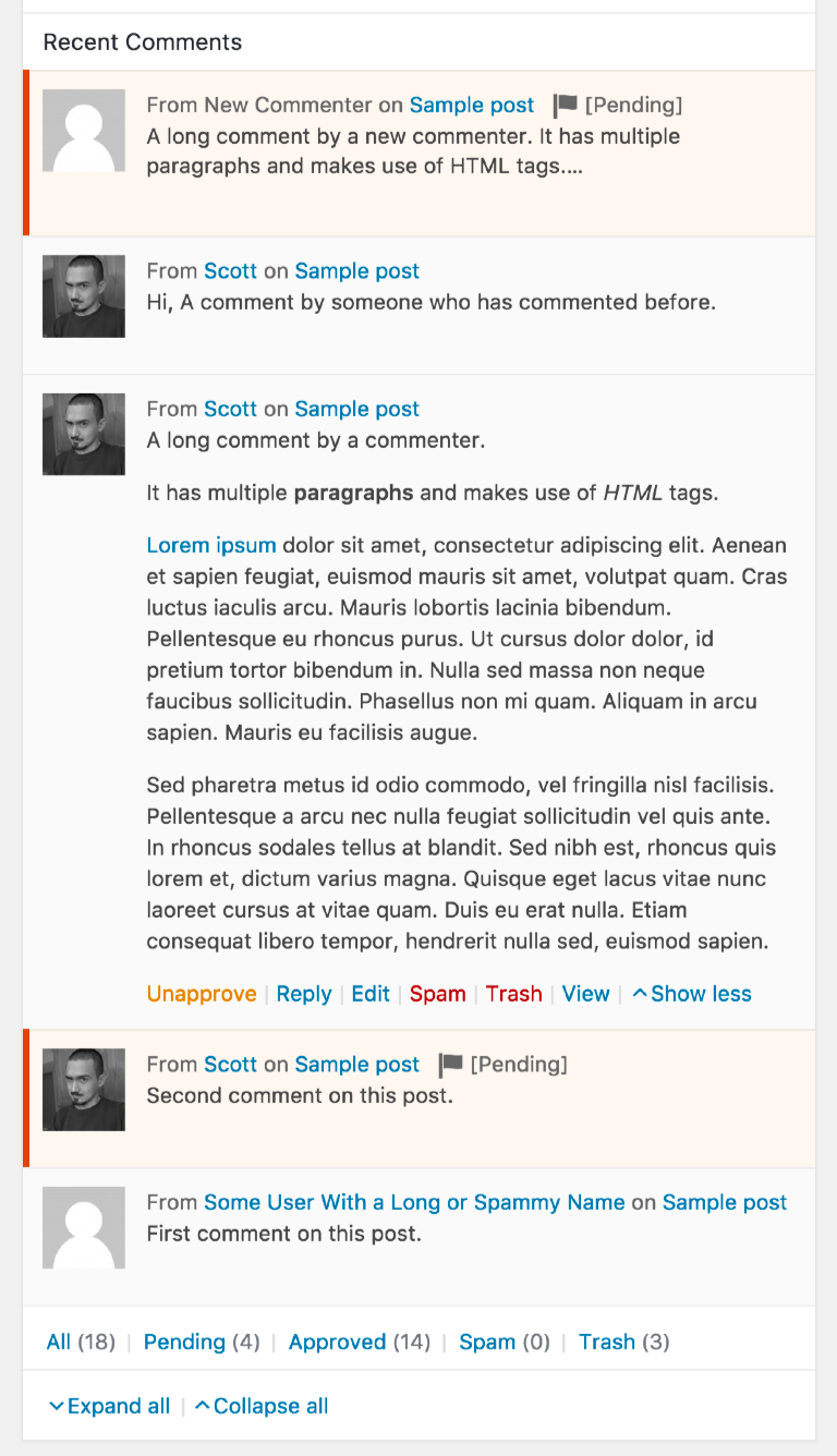expandable-dashboard-recent-comments screenshot 2
