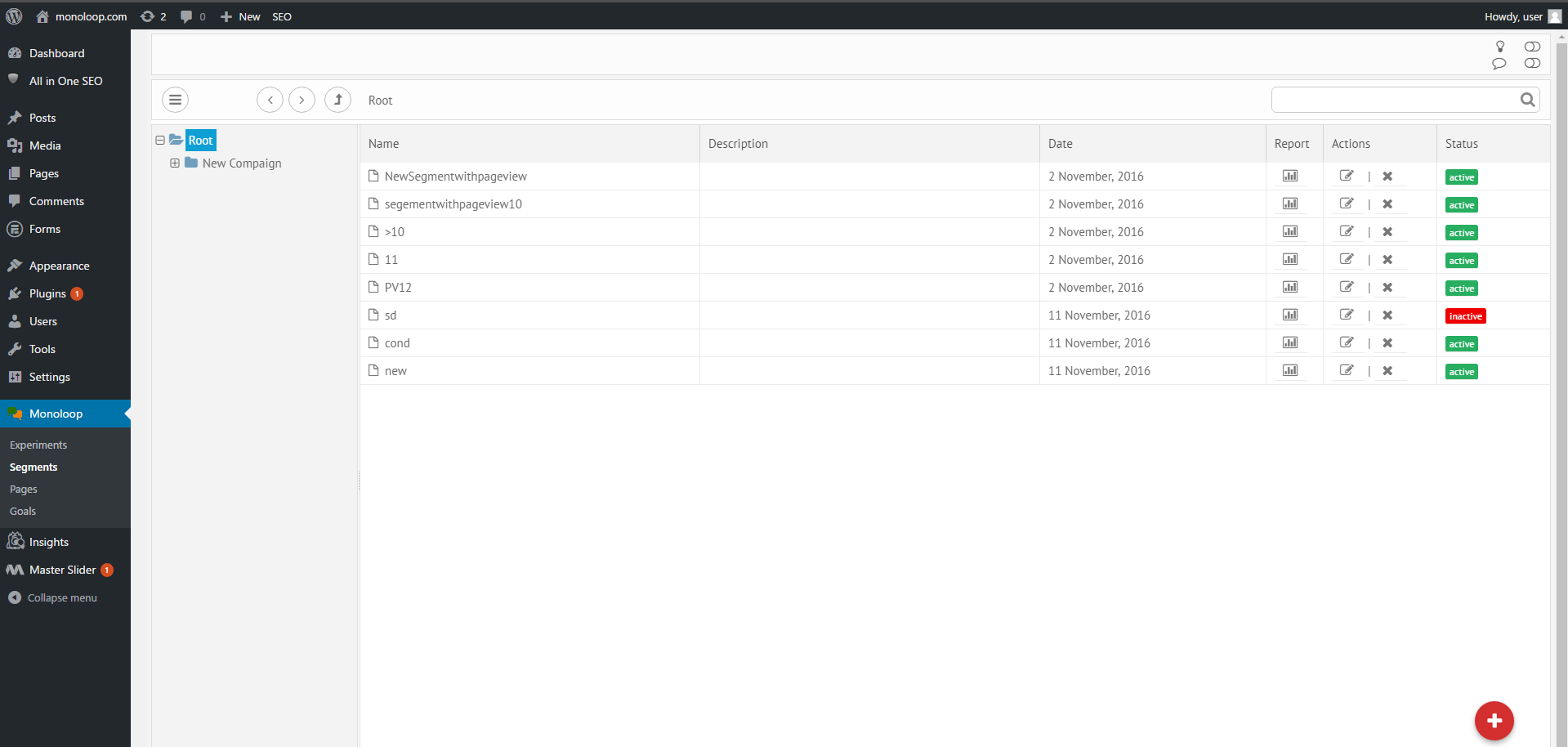 screenshot-8.png: Full overview of active and inactive audience segments.