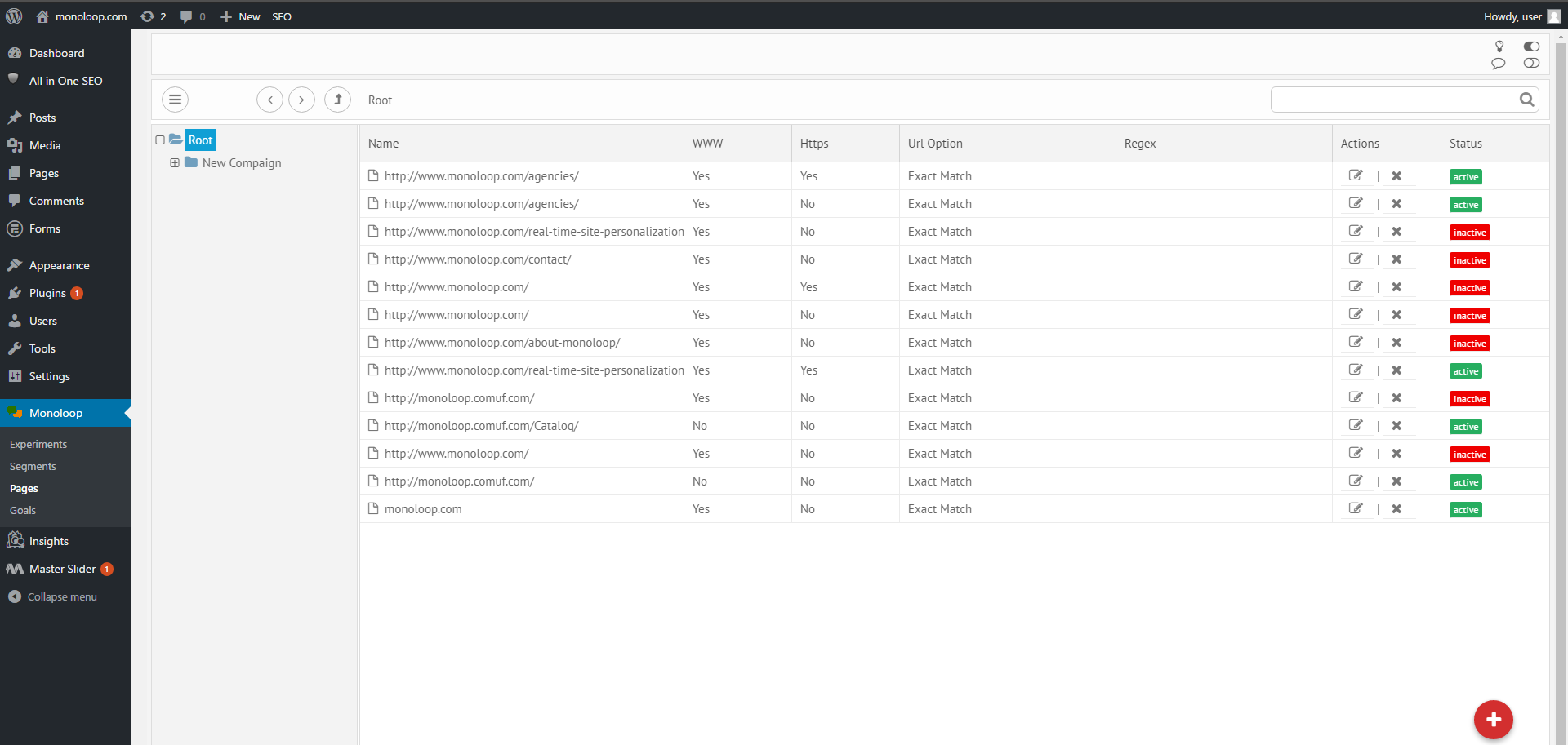 screenshot-9.png: Full overview of active and inactive pages on your site.