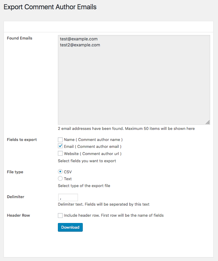 Export Comment Author Emails Plugin Page