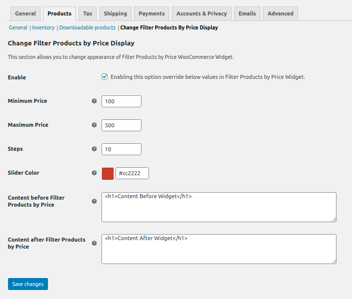 <p>Extend Filter Products by Price Widget Settings Page</p>