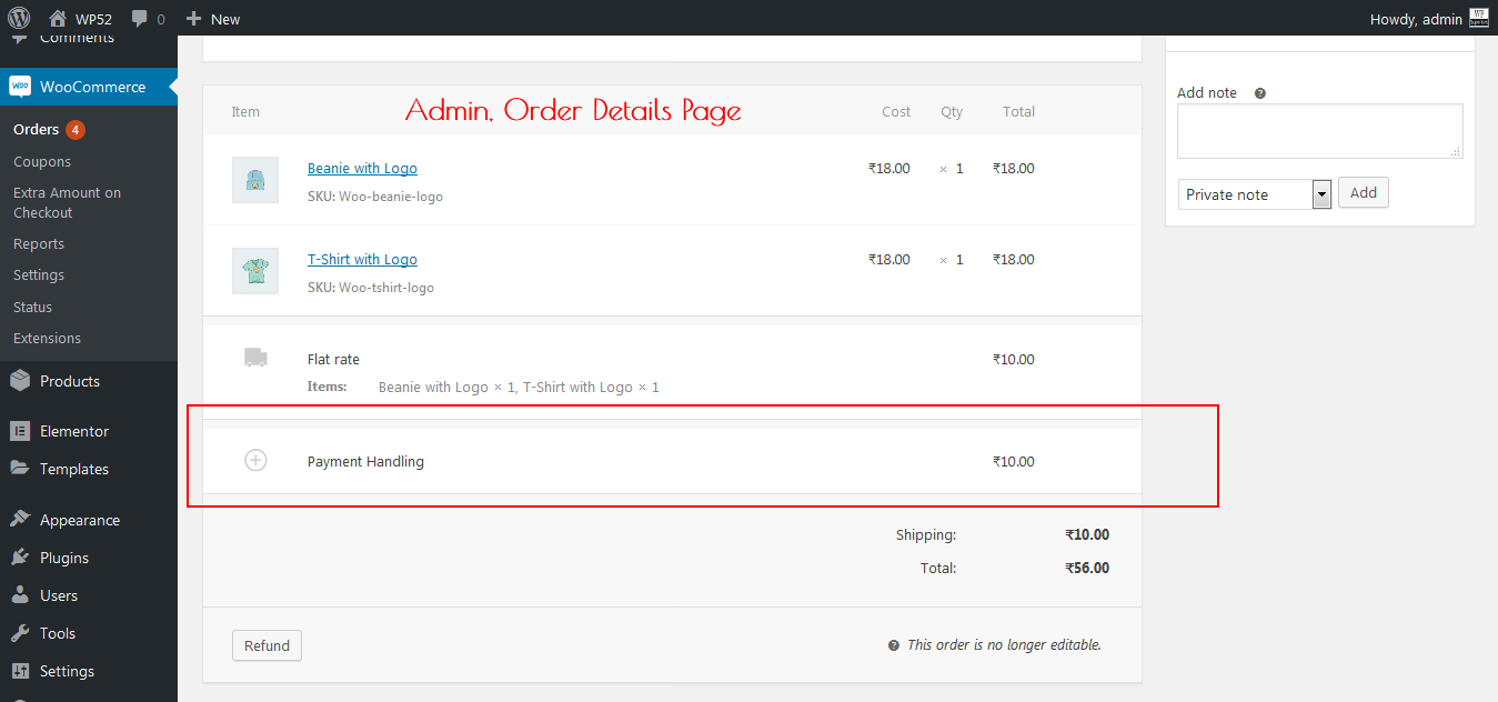Admin Order Details Page.