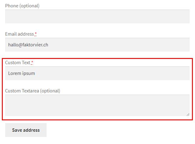 Fields in edit address form