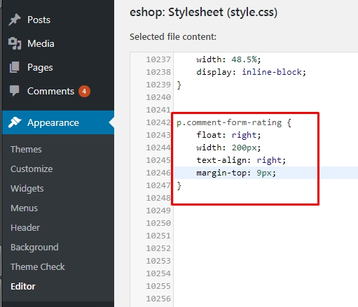 Your custom css just paste in your thems style.css file
