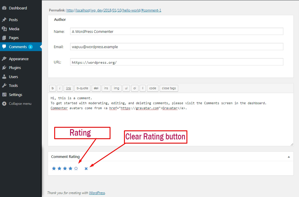 Admin can change rating from dashboard comment screen