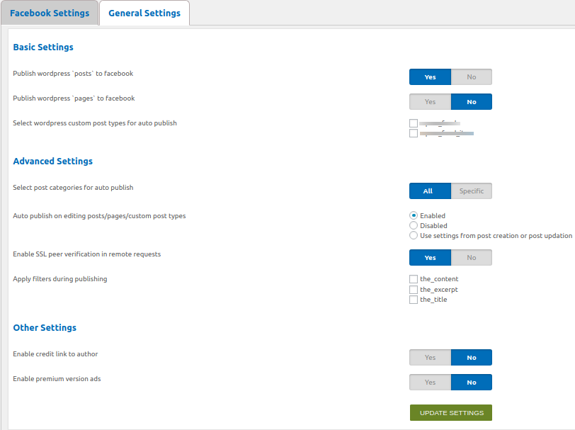 This is the general settings section.