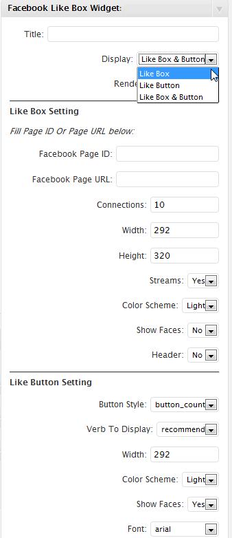 Wordpress Admin Setting for Facebook Like Box