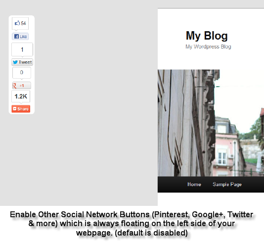 Now you can enable additional social network buttons such as Pinterest, Twitter, Google+ and it is floating on the left or right side with 6 styles for you to choose (default is set to No). It is powered by AddThis.com.