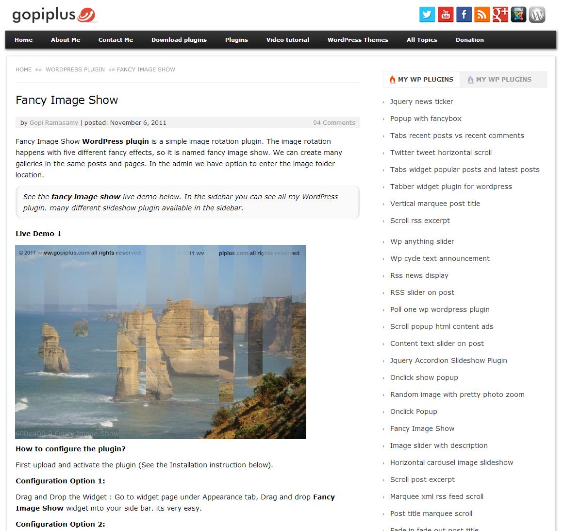 <p>Front Screen. http://www.gopiplus.com/work/2011/11/06/fancy-image-show-wordpress-plugin/</p>