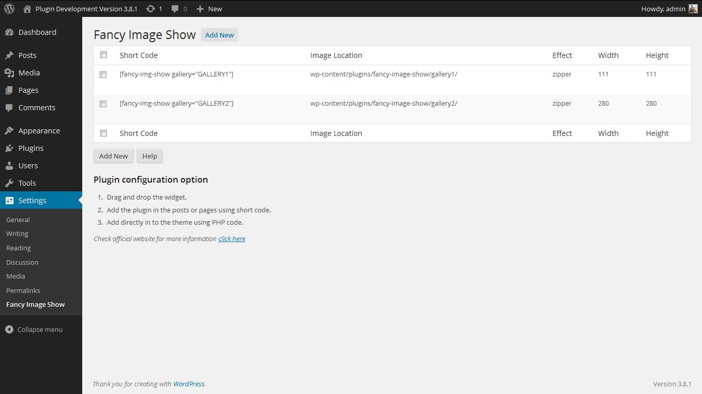 <p>Admin Screen. http://www.gopiplus.com/work/2011/11/06/fancy-image-show-wordpress-plugin/</p>
