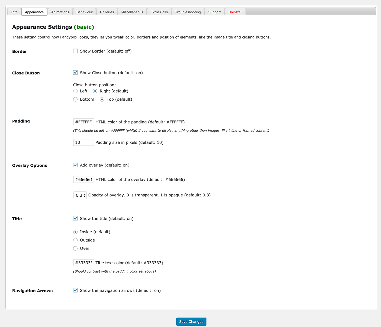 Basic settings on Options Page in the Admin Panel. This makes it very easy to customize the plugin to your needs