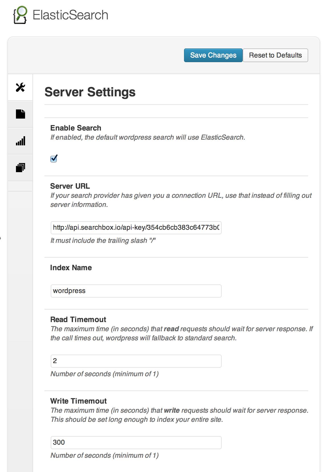 Configure your ElasticServer settings