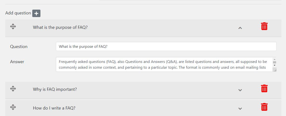 FAQ Builder - dashboard edit faq page