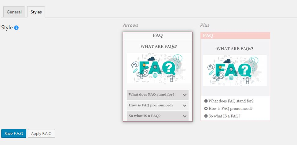 FAQ Builder - dashboard edit faq page style tab