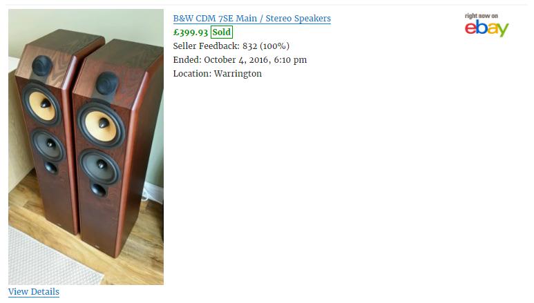 Screenshot 4. A single eBay item that has sold