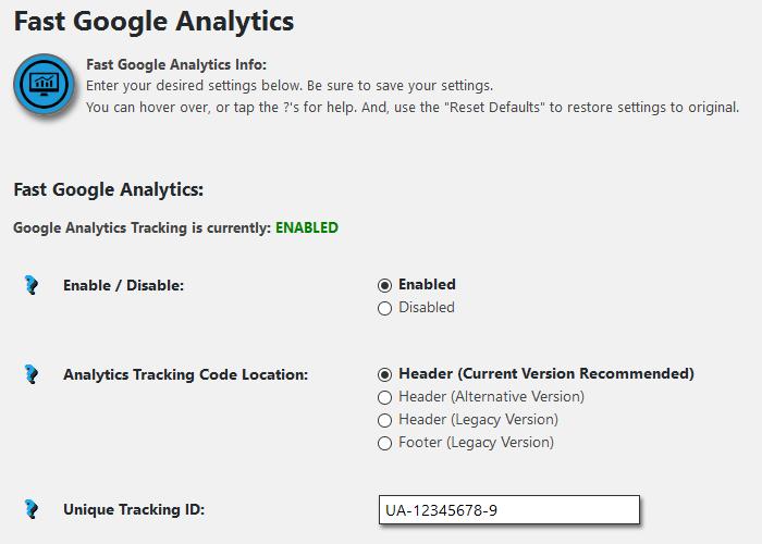 WordPress Admin Dashboard Fast Google Analytics Settings