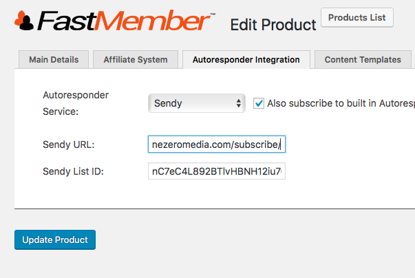 Enter your Sendy URL and list ID
