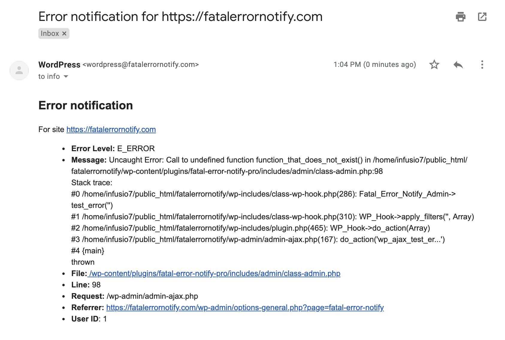 Fatal Error Notify