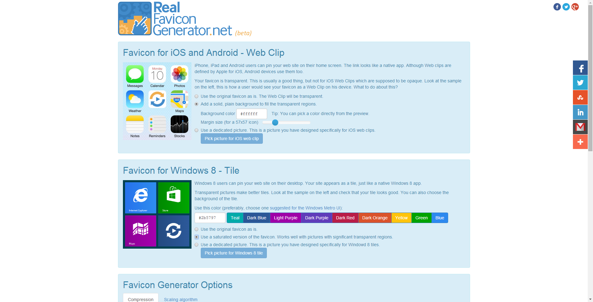 """Once you hit the Generate Favicon button, you are redirected to <a href=""""http://realfavicongenerator.net/"""">RealFaviconGenerator</a>, where you can design your favicon: adding a background to your iOS picture, using a saturated version of your master picture for Windows 8..."""