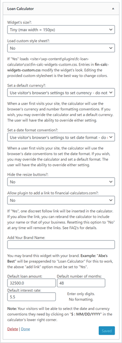 Plugin's settings dialogue, as seen under <em>Appearance</em> <em>Widgets</em> page in WordPress's administration area.