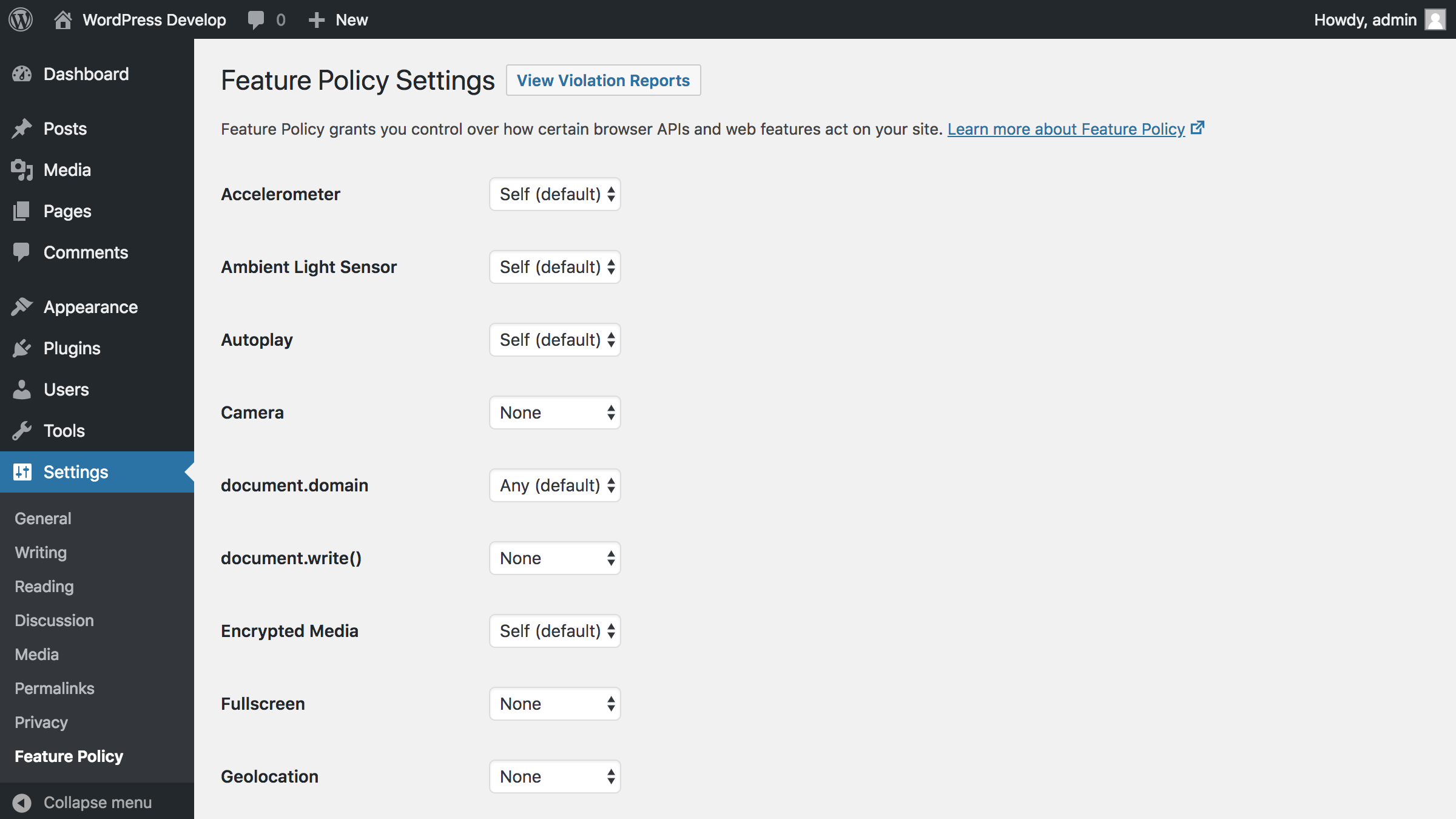 Settings screen with a link to Feature Policy reports (with the Reporting API plugin active)