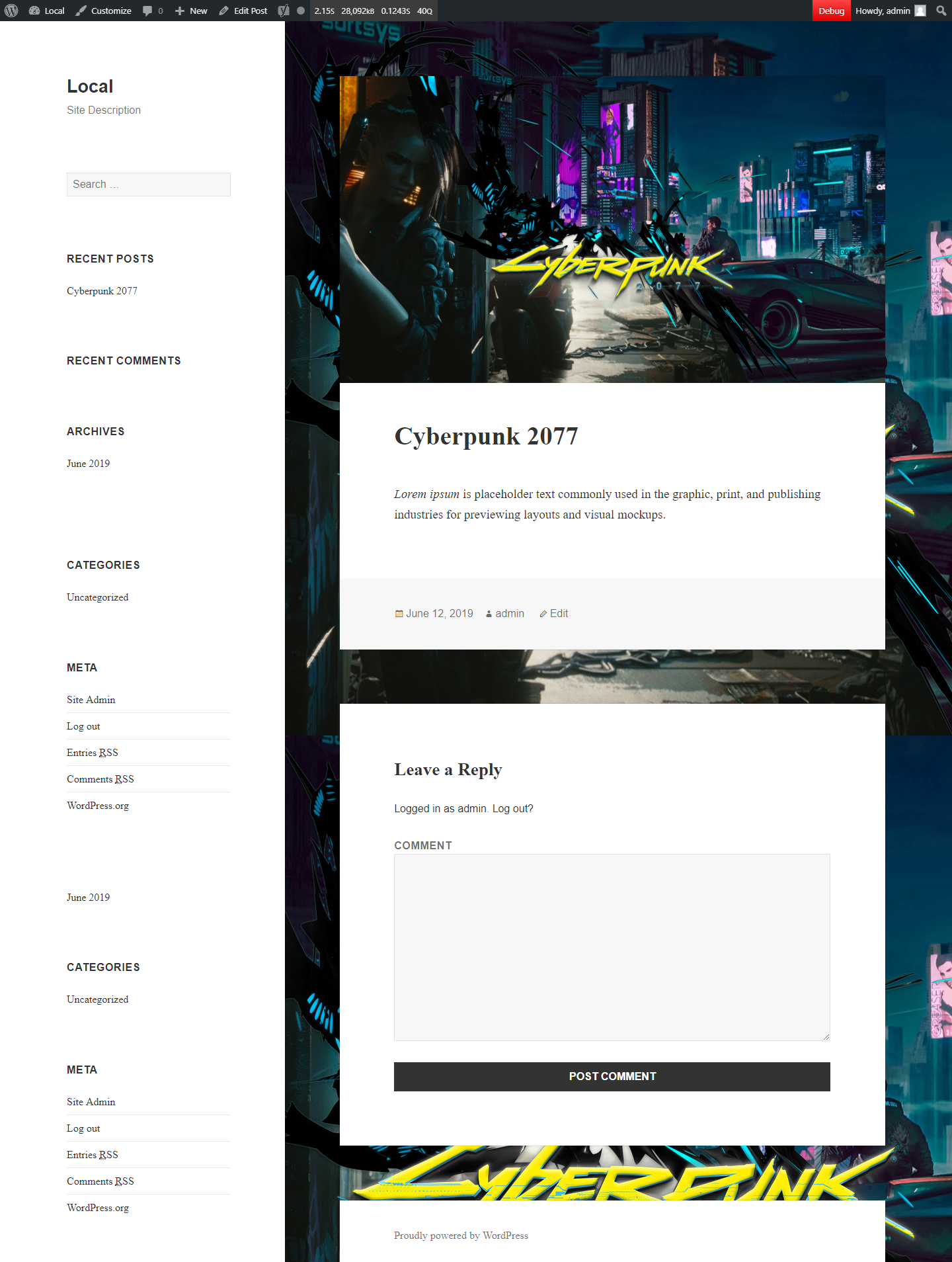 Featured Background Image preview in post