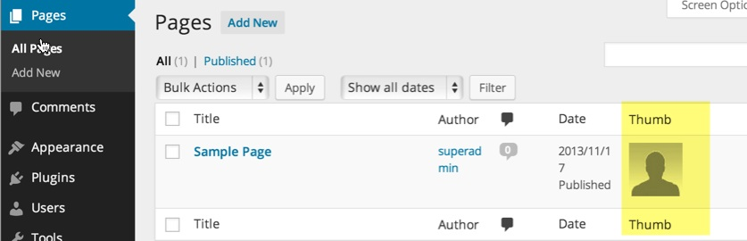 This shows the Thumb column in the All Pages/Posts admin view and in this case a thumbnail is available and shown. There would be a blank space if no thumbnail was found for the post or page.