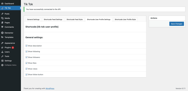 Tik Tok Feed / Shortcode user profile settings