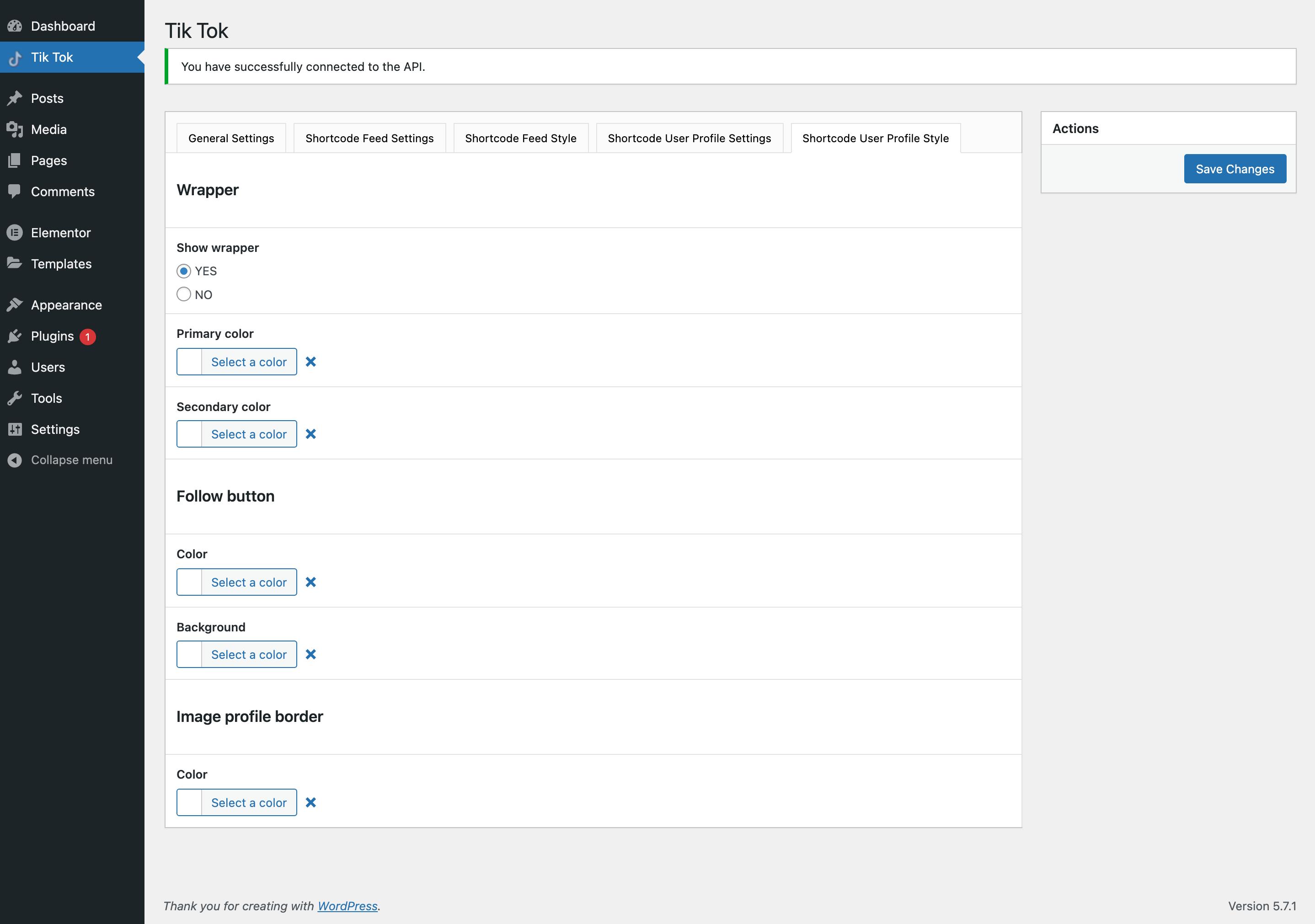 Tik Tok Feed / Shortcode user profile style