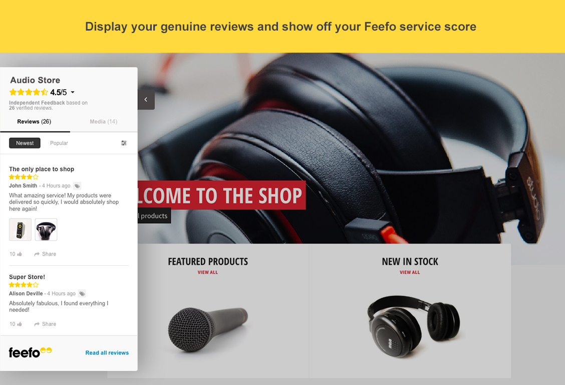 Display your genuine reviews and show off your Feefo service score