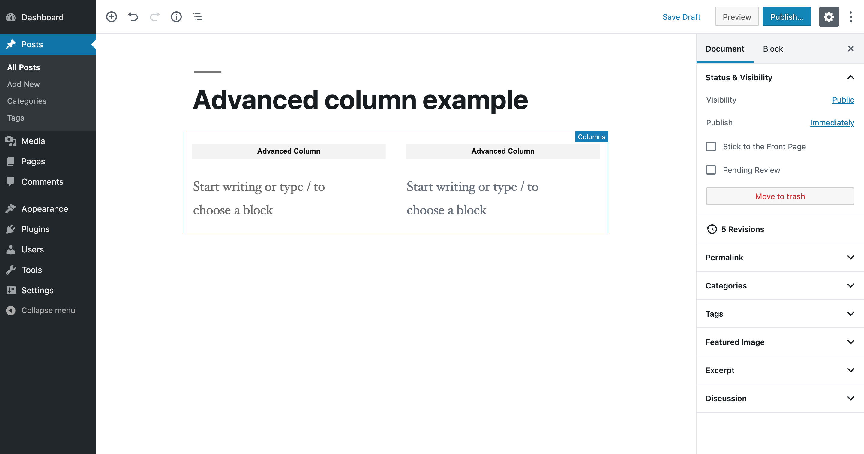 Each column in your page or post is labelled as an advanced column.