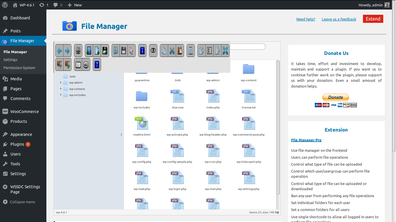 File Manager 5.0.1 - WordPress plugin