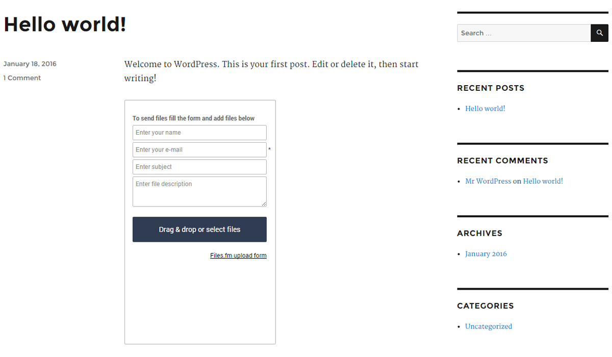 Files.fm File Upload Form — WordPress Plugins