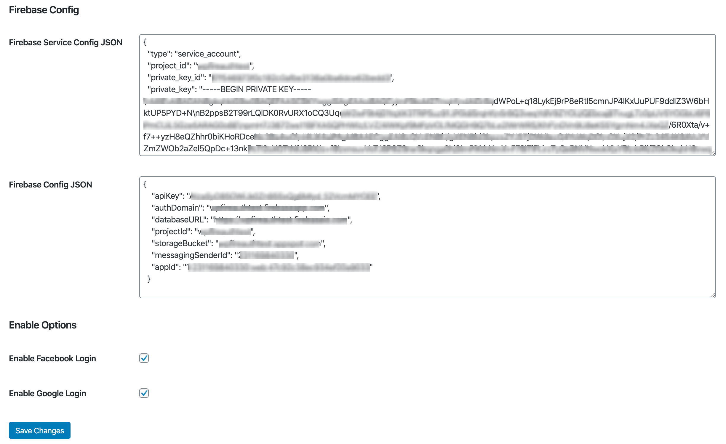Fireauth Wordpress Plugin Configurations