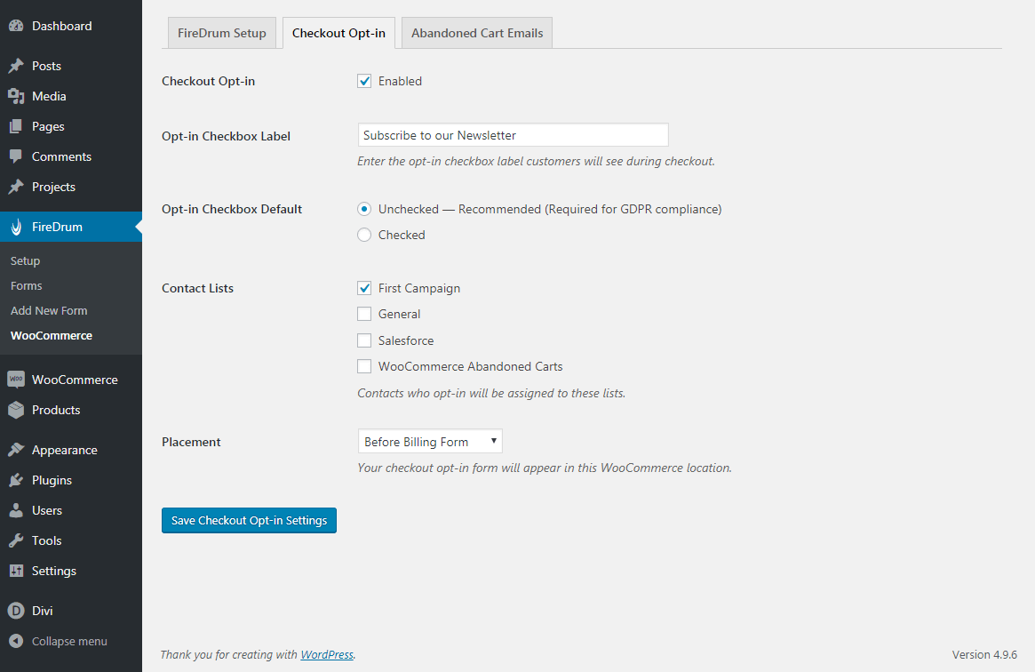 <p>WooCommerce Integration: The available 'Checkout Opt-In' settings.</p>