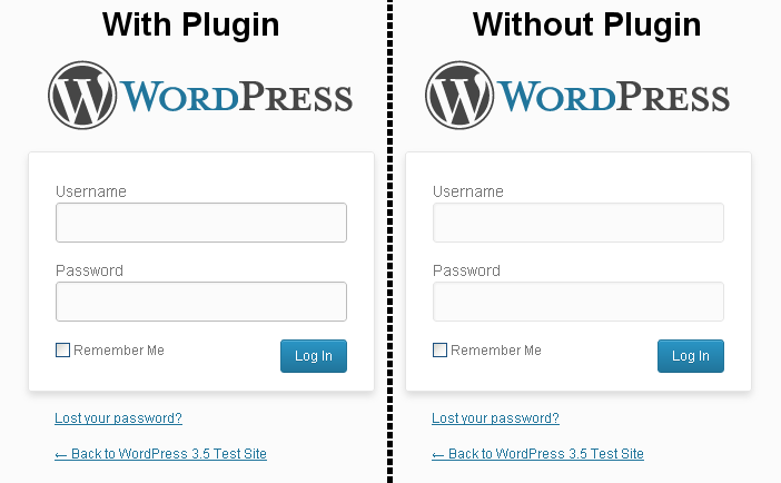 The login page, with the plugin enabled (left) and disabled (right).
