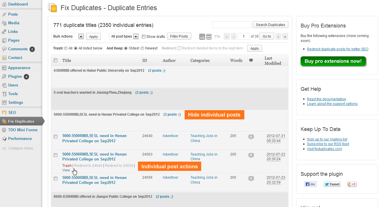 The main screen where duplicate entries are managed.