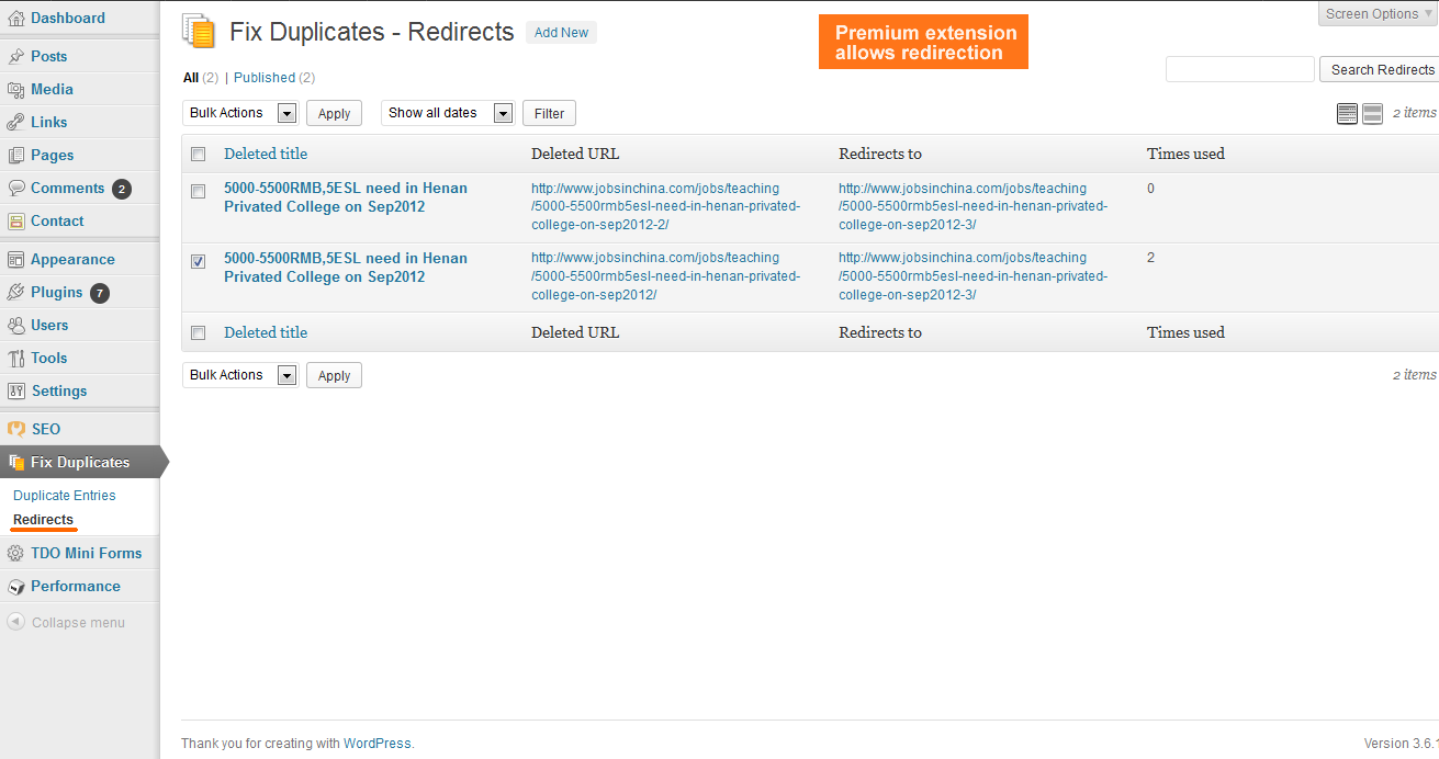 The redirection management screen, which is part of the premium Redirection extension.